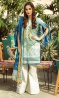 Printed BROCHIA Lawn Dupatta Printed BROCHIA Lawn Shirt Sleeves 3.12 Meters Dyed Cambric Trouser