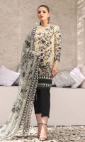 Jacquard net dupatta Printed lawn shirt 3.12 meters Dyed cambric trouser