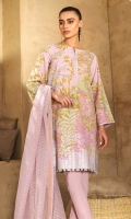 Fancy net dupatta Printed slub lawn shirt 3.12 meters Dyed cambric trouser
