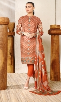 Printed broshia dupatta Printed lawn shirt 3 meters Dyed cambric trouser