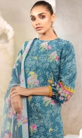 Chiffon dupatta Printed lawn shirt/sleeves 3.12 meters Embroidered shirt front Dyed cambric trouser