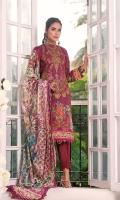 Shirt: Embroidered & Digital Printed Cambric (3 meters) Dupatta: Digital Printed Brosha Jacquard (2.5 meters) Trouser: Dyed Cambric (2.5 meters)  Embroidery Details: Embroidered Front on Shirt