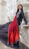 Shirt Front : Dyed Embroidered Shirt Back : Digital Printed Sleeves : Digital Printed Dupatta : Digital Printed Silk Trouser : Dyed Cambric  Embroidery Details: Embroidered Body For Front With Mirror Work Embroidered Chikankari Front