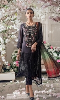 Shirt Front : Dyed Embroidered Shirt Back : Digital Printed Sleeves : Dyed Embroidered Dupatta : Digital Printed Silk Trouser : Dyed Cambric  Embroidery Details: Embroidered Body For Front Embroidered Chikankari Sleeves Embroidered Chikankari Daman For Front Embroidered Chikankari Trouser