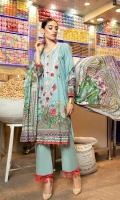 Details: Shirt: Digital Printed Lawn (3 meters) Dupatta: Digital Printed Lawn (2.5 meters) Trouser: Dyed Cotton (2.5 meters)  Embroidery Details: Embroidered Gala on Shirt