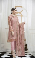Front And Back  Embroidery with Sequence,  Embroidery Patch for Neck  Dupatta with Dori,  Plain Trouser