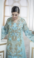 Front Embroidery of Tilla  Back Embroidery  Embroidery Sleeves of thread and tilla  Front and Back patti  Two side border shawl  Trouser with patch
