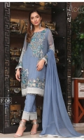 Embroidered Chiffon Front : 0.7 yard Embroidered Chiffon Back : 1 yard Embroidered Chiffon Sleeves : 0.65 yard Embroidered Chiffon front Lace : 2 yards Embroidered Chiffon Trouser Lace : 1 yard Raw Silk Trouser : 2.5 yards Embroidered Chiffon Dupatta : 2.5 yards