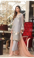 Embroidered Chiffon Front : 1 yard Embroidered Chiffon Back : 1 yard Embroidered Chiffon Sleeves : 0.65 yard Embroidered Chiffon front Lace : 2 yards Raw Silk Trouser : 2.5 yards Embroidered Chiffon Dupatta : 2.5 yards