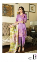 3 pcs embroidered Lawn with printed Chiffon dupatta