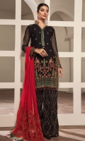 Embroidered Chiffon Front Embroidered Chiffon Back & Kali Embroidered Chiffon Sleeves Embroidered Front, Back & Sleeves Patch Embroidered Neckline Patch Embroidered Chiffon Dupatta Embroidered Grip Trouser