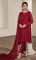 Embroidered Chiffon Front Embroidered Chiffon Back Embroidered Chiffon Sleeves Embroidered Front, Back & Sleeves Patch Embroidered Neckline Patch Embroidered Chiffon Dupatta Grip Trouser
