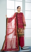 Embroidered Organza Front Embroidered Organza Back Embroidered Organza Sleeves Embroidered Front & Back Patch Valvet Dupatta Patch Embroidered Organza Net Dupatta Grip Trouser