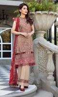 Embroidered Chiffon Front Embroidered Chiffon Back Embroidered Chiffon Sleeves Embroidered Front (2) + Back (2) + Sleeves Patch Embroidered Chiffon Dupatta Raw Silk Trouser