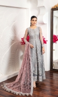 Embroidered Net Front Embroidered Net Back Embroidered Front Body Embroidered Back Body Embroidered Net Sleeves Embroidered Front + Back Patch Embroidered Net Dupatta Embroidered Sleeves + Dupatta Patch Dyed Raw Silk Trouser