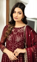 Embroidered Chiffon Front Kalli Embroidered Chiffon Back Kalli Embroidered Chiffon Front Back Body Embroidered Chiffon Sleeves Embroidered Chiffon Front + Back Laser Cut Patch Embroidered Chiffon Pallu Dupatta Dyed Grip Trouser  Model Size: