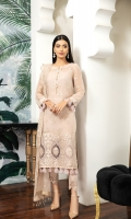 Embroidered Chiffon Front Embroidered Chiffon Back Embroidered Chiffon Sleeves Embroidered Organza Front Patch Embroidered Organza Back Patch Embroidered Chiffon Dupatta Trouser Patch Dyed Raw Silk Trouser