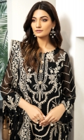 Embroidered Chiffon Front Embroidered Chiffon Back Embroidered Chiffon Side Kalli Embroidered Chiffon Sleeves Embroidered Chiffon Front + Back Patch (2) Embroidered Chiffon Dupatta Dyed Grip Trouser