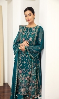 Embroidered Centre Panel Embroidered Chiffon Side Kalli (2) Embroidered Chiffon Back Embroidered Chiffon Sleeves Embroidered Front + Back Patch Embroidered Chiffon Dupatta Embroidered Trouser Patch Dyed Grip Trouser