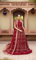 Embroidered Net Front  Embroidered Net Back Embroidered Front Body Embroidered Back Body Embroidered Net Sleeves Embroidered Front + Back Patch 2  Embroidered Neckline Patch  Embroidered Belt Patch Embroidered Net Pallu Dupatta  Dyed Russian Grip Trouser