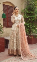Embroidered Net Front  Embroidered Net Back Embroidered Front Body Embroidered Back Body Embroidered Net Sleeves Embroidered Front + Back Patch (2) Embroidered Net Dupatta Embroidered Dupatta Patch Dyed Raw Silk Trouser
