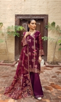 Embroidered Chiffon Front Embroidered Chiffon Back Embroidered Chiffon Front Body Embroidered Chiffon Back Body Embroidered Chiffon Front + Back Patch 2 Embroidered Chiffon Sleeves  Embroidered Organza Pallu Dupatta Embroidered  Organza Dupatta Patch Dyed Russian Grip Trouser