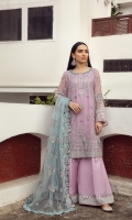 Embroidered Chiffon Front Embroidered Chiffon Back Embroidered Chiffon Side Kali Embroidered Chiffon Front + Back Patch 2 Embroidered Chiffon Sleeves Embroidered Chiffon Sleeves Patch Embroidered Net Dupatta Embroidered  Trouser Patch Dyed Raw Silk Trouser