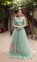 Embroidered Net Front  Embroidered Net Back Embroidered Front Body Embroidered Back Body Embroidered Net Sleeves Embroidered Front + Back Patch 2 Embroidered Net Palu Dupatta Embroidered Dupatta Patch Dyed Raw Silk Trouser
