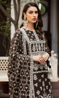 Embroidered Chiffon Front Embroidered Chiffon Back Embroidered Chiffon Side Kali Embroidered Chiffon Front + Back Patch  Embroidered Chiffon Sleeves Embroidered Chiffon Dupatta Embroidered  Chiffon Dupatta Patch Embroidered Trouser Patch Dyed Russian Grip Trouser