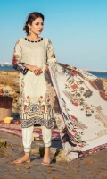 1.25m Digital Printed and Embroidered Lawn Front 1.25m Digital Printed Lawn Back 0.66m Digital Printed Lawn Sleeves 2.5m Digital printed Crinkle Chiffon Dupatta 2.5m Dyed Cotton Trouser