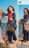 1.25m Digital Printed Lawn Front 1 Emb Neckline Patch 1.25m Digital Printed Lawn Back 0.66m Digital Printed Lawn Sleeves 2.5m Digital printed Crinkle Chiffon Dupatta 2.5m Dyed Cotton Trouser 1 m Schiffli Embroidered Border for Trouser