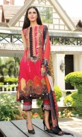 Digital Printed Embroidered Lawn Front 1.14 M Digital Printed Lawn Back 1.14 M Embroidered Patch 1 M Digital Printed Lawn Sleeves 0.67 M Digital Printed Chiffon Dupatta 2.5 M Dyed Cotton Trouser 2.5 M
