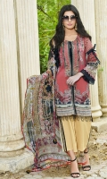 Digital Printed Lawn Front 1.14 M Digital Printed Lawn Back 1.14 M Embroidered Patch A For Front Daman 1 Pc Digital Printed Lawn Sleeves 0.67 M Embroidered Patch For Sleevs 1 M Digital Printed Crinkle Chiffon Dupatta 2.5 M Dyed Cotton Trouser 2.5 M