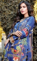 Digital Printed Embroidered Linen Front 1.14 M Digital Printed Linen Back 1.14 M Embroidered Front Daman Patch 1 M Digital Printed Linen Sleeves 0.67 M Digital Printed Schiffli Linen Dupatta 2.5 M Dyed Linen Trouser 2.5 M