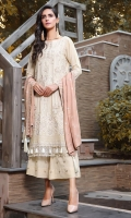 Embroidered Karandi Front 1 M Embroidered Karandi Back 1.14 M Embroidered Front Daman Patch 1 M Embroidered Karandi Sleeves 0.67 M Embroidered Cotail Dupatta 2.5 M Dyed Embroidered Karandi Trouser 2.5 M