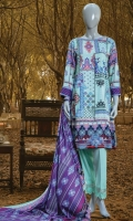 PRINTED LINEN SHIRT 3 METERS. PRINTED LINEN DUPATTA 2.5 METERS. DYED TROUSER 2.5 METERS