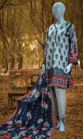 PRINTED KHADDAR SHIRT 3 METERS. PRINTED KHADDAR DUPATTA 2.5 METERS. DYED TROUSER 2.5 METERS