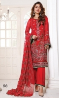 Embroidered Chiffon Shirt Printed and Embroidered Chiffon, Net and Silk Dupatta Dyed Trouser