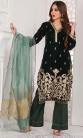 Handcrafted Velvet Shirt Artisanal Designer Embroidered Jacquard and Silk Trouser Banarsi and Fancy Dupatta Party Wear Dress