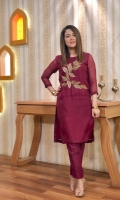 organza dress with chiffon dupatta. Handwork zarri and stone work on shirt 3 piece stitched all sizes are available