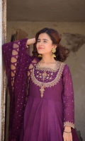Jaamni A pishwas paper cotton blended with delicate handwork of zarri and dabka on neckline sleeves and sleeves border . Including jamwaar trouser and full chann net dupatta
