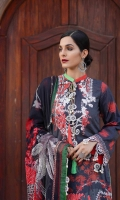 Printed Lawn Front, Back & Sleeves Printed Chiffon Dupatta Embroidered Motifs Dyed Trousers