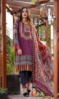 Printed Lawn Front, Back & Sleeves Printed Chiffon Dupatta Embroidered Neckline Dyed Trousers
