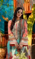 Printed Lawn Front, Back & Sleeves Printed Chiffon Dupatta Embroidered Neckline Embroidered Front, Back & Ghera Patti Embroidered Sleeves Patti Dyed Trousers