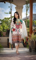 Printed Lawn Front, Back & Sleeves Embroidered Net Dupatta Embroidered Neckline Dyed Trousers