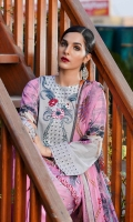 Printed Lawn Front, Back & Sleeves Printed Chiffon Dupatta Embroidered Neckline Embroidered Sleeves Patti Embroidered Daman Patti Dyed Trousers