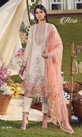 • Embroidered Masuri Shirt Center Panel • Embroidered Masuri Shirt Right Panel • Embroidered Masuri Shirt Left Panel • Plain Masuri Shirt Back • Embroidered Masuri Sleeves • Embroidered Neckline • Embroidered Panel Motifs • Embroidered Shirt Hem Border • Embroidered Sleeves Border • Embroidered Shirt Back Border • Embroidered Net Dupatta • Trouser Border • Cambric Cotton Trouser