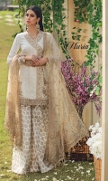 • Embroidered Lawn Shirt Front • Embroidered Lawn Shirt Back • Embroidered Lawn Sleeves • Embroidered Neckline Trim • Embroidered Shirt Hem Border • Embroidered Shirt Corner Motifs • Embroidered Shirt Back Border • Embroidered Sleeves Border • Embroidered Net Dupatta • Embroidered Dupatta Pallu • Embroidered Dupatta Border • Cambric Cotton Screen Print Sharara