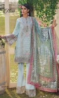 • Embroidered Lawn Shirt Center Panel • Embroidered Lawn Shirt Right & Left Panel • Embroidered Shirt Lawn Back • Embroidered Lawn Sleeves • Embroidered Center Panel Motifs • Embroidered Shirt Connector Trim • Embroidered Shirt Front Border • Embroidered Shirt Back Border • Embroidered Sleeves Border • Foil Print Net Dupatta • Embroidered Trouser Border • Cambric Cotton Trouser