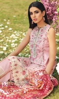 • Embroidered Lawn Center Panel • Embroidered Lawn Shirt Right & Left Panel • Embroidered Lawn Shirt Back • Embroidered Lawn Sleeves • Embroidered Shirt Connector Trim • Embroidered Sleeves Border • Embroidered Shirt Back Border • Embroidered Center Panel Motifs • Embroidered Shirt Hem Border • Foil Print Net Dupatta • Embroidered Trouser Border • Cambric Cotton Trouser